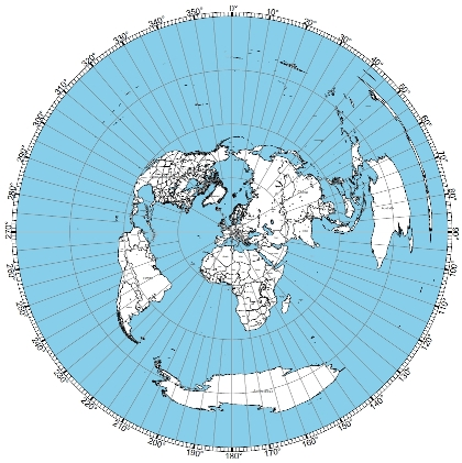 azimuthal projection from DL3TU's QTH